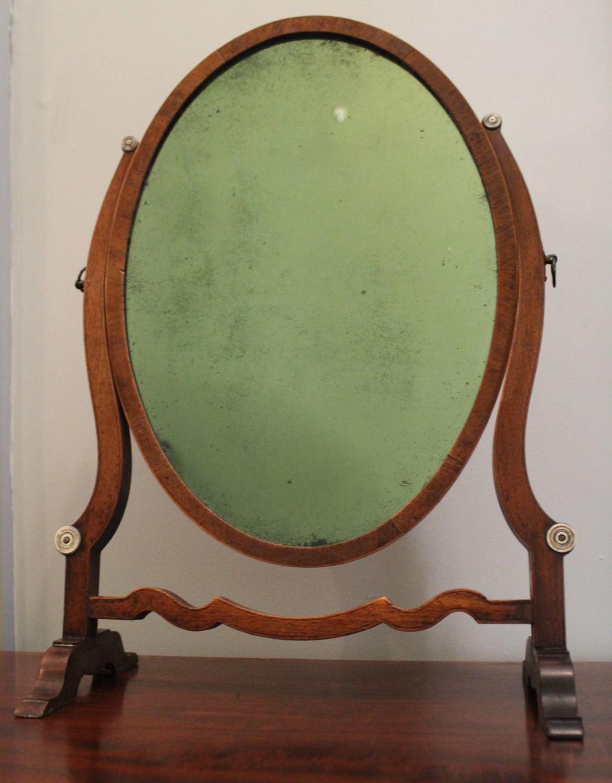 19th Century Mahogany Skeleton Toilet Mirror