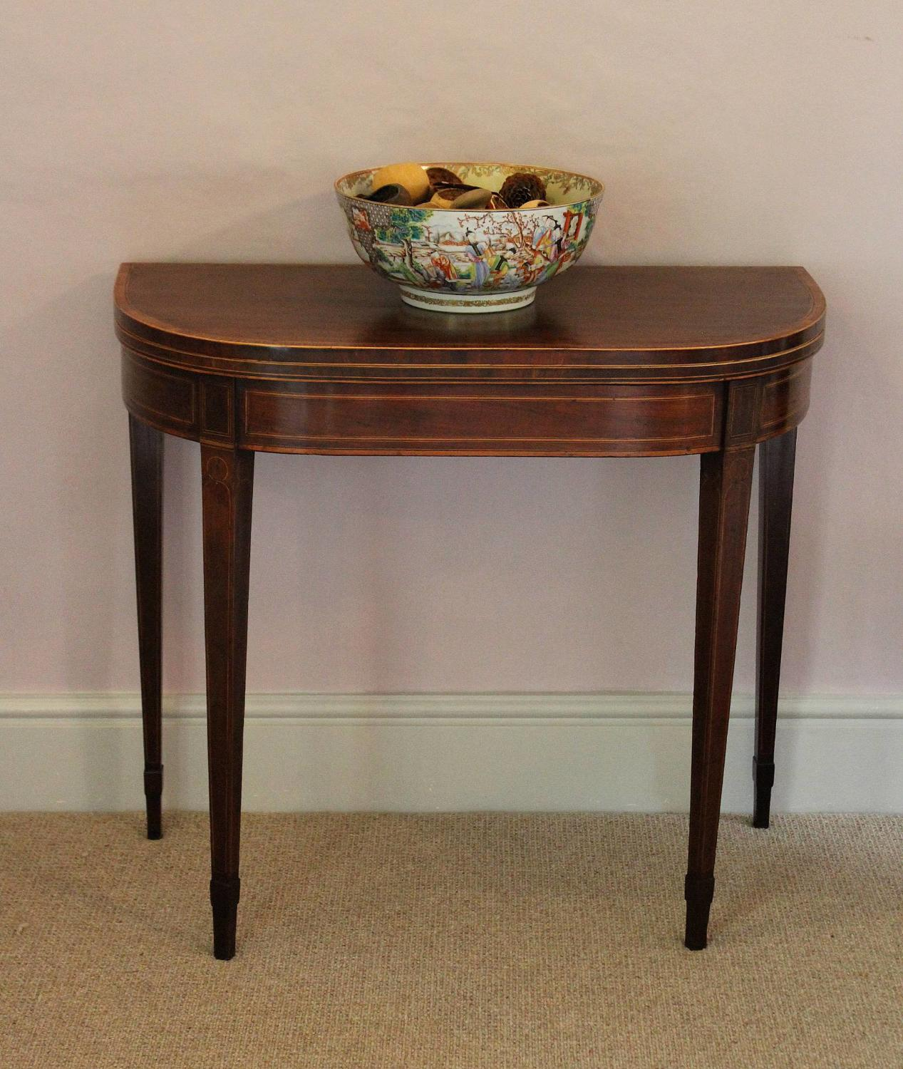 George III Inlaid Mahogany D-Shaped Card Table
