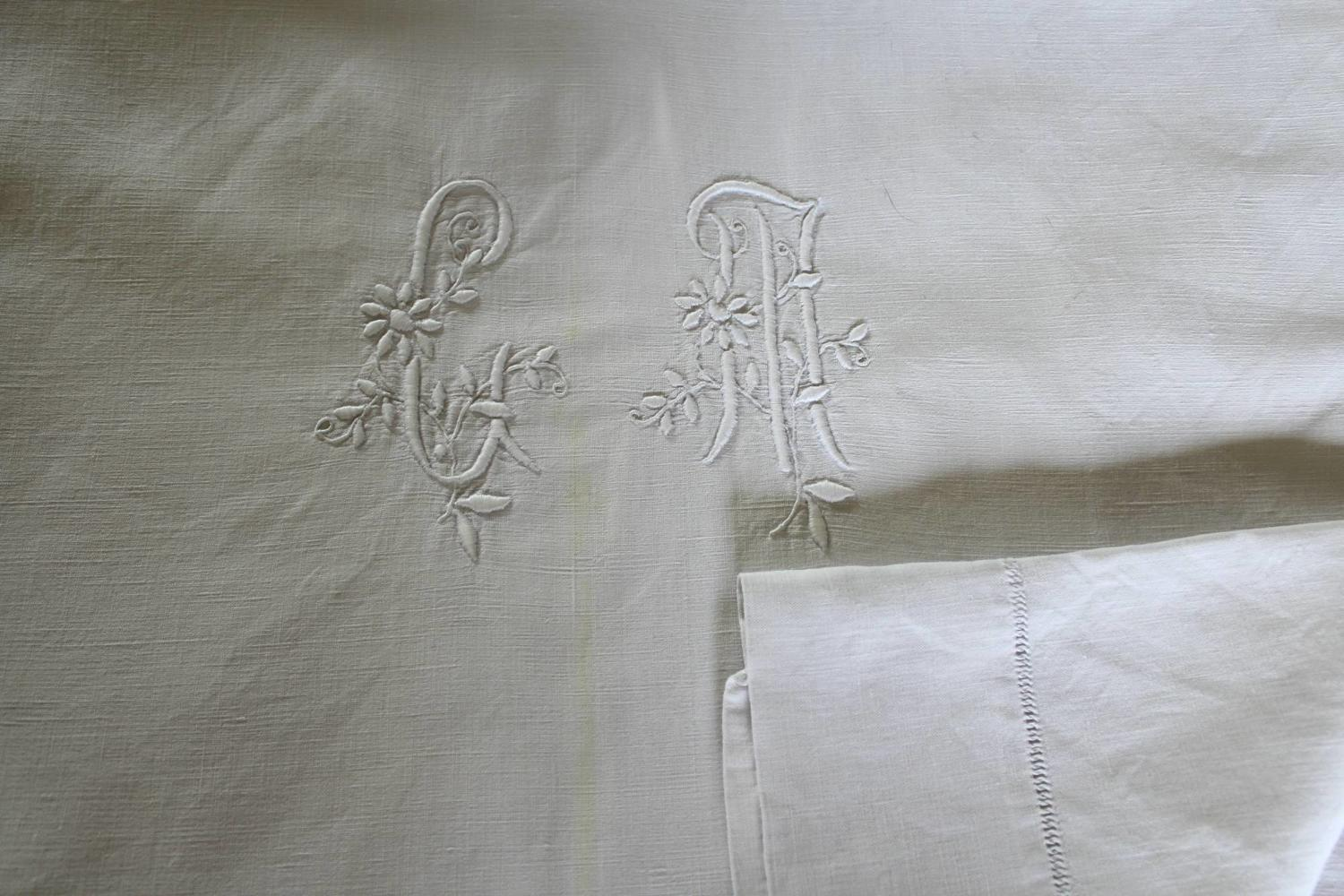 Vintage French Metis Linen Monogrammed Dowry Sheet