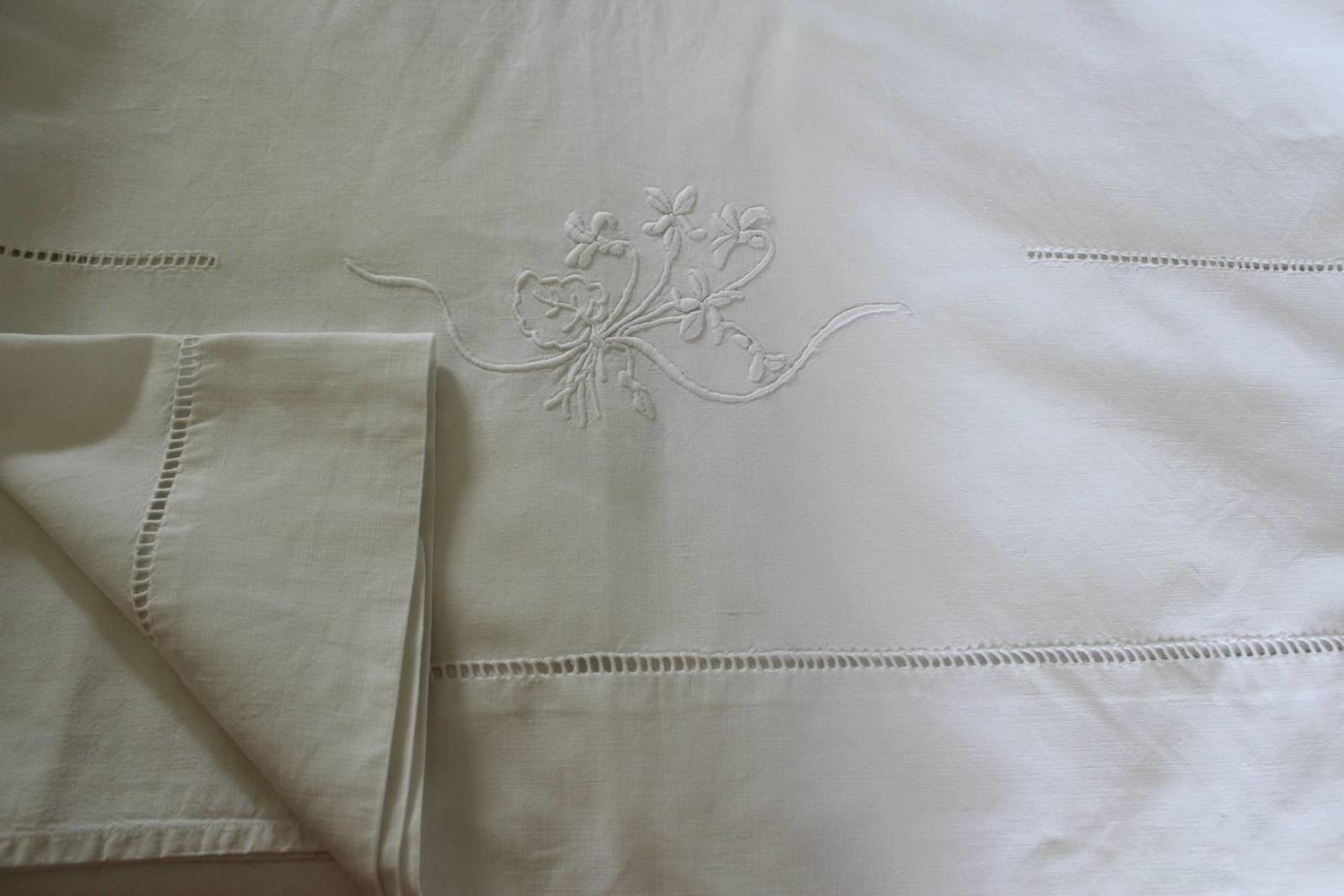 Vintage French Metis Linen Hand Embroidered Sheet