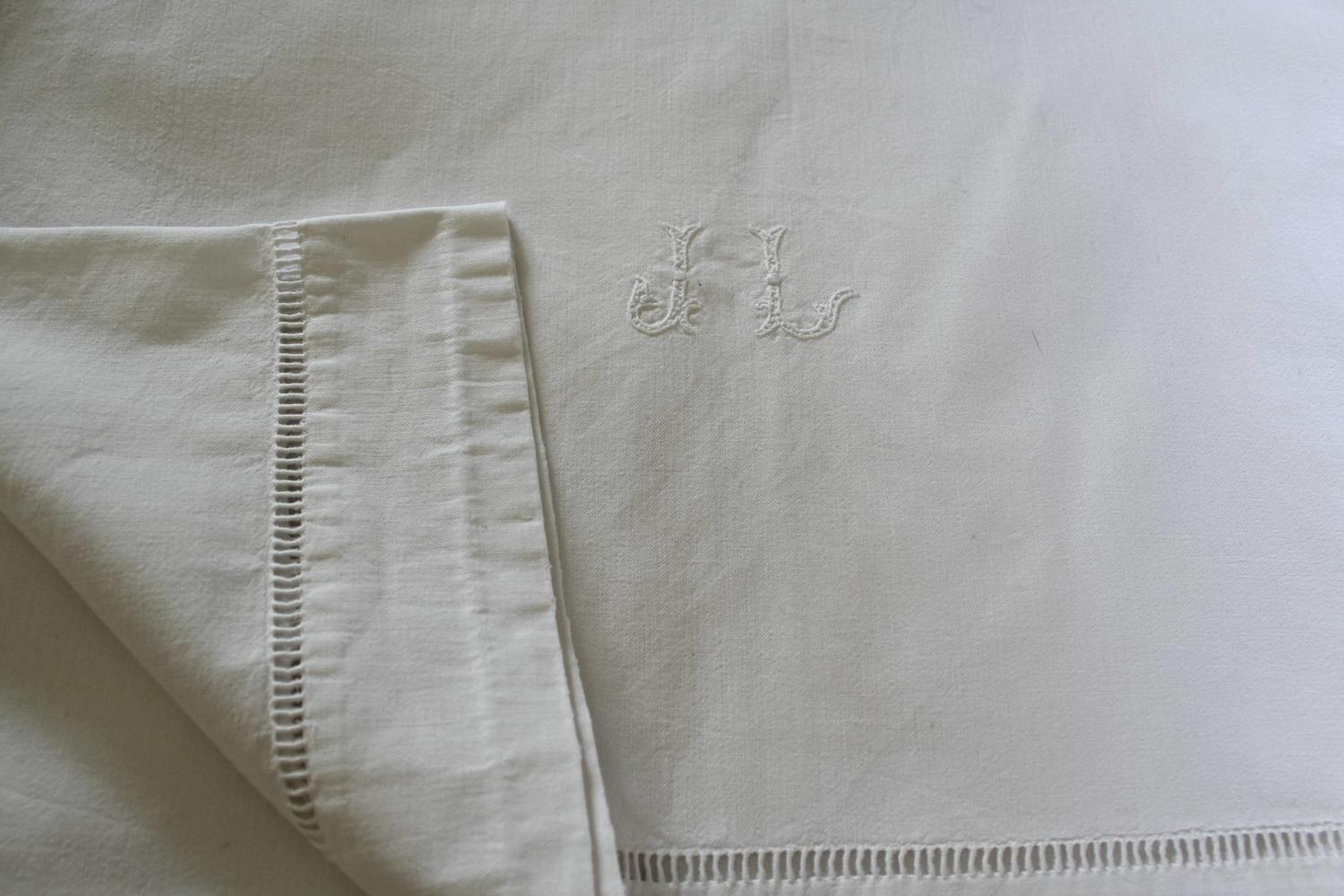 Vintage French Metis Linen Embroidered Sheet