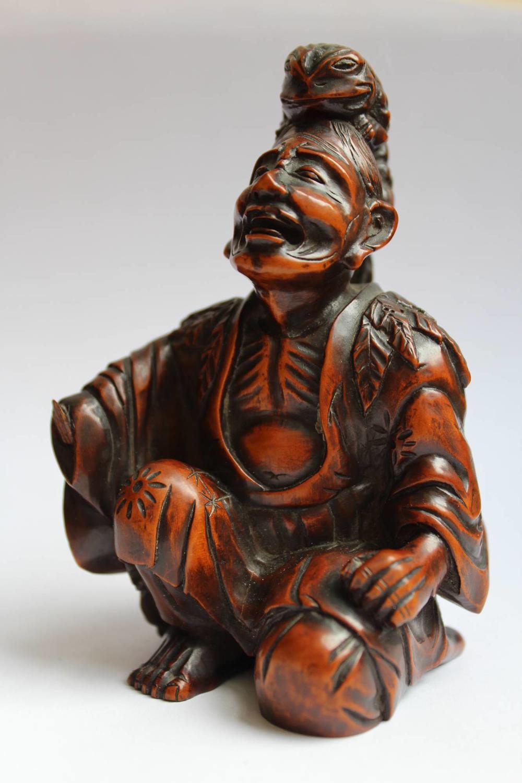 Japanese Meiji Okimono Carving of Gama Sennin