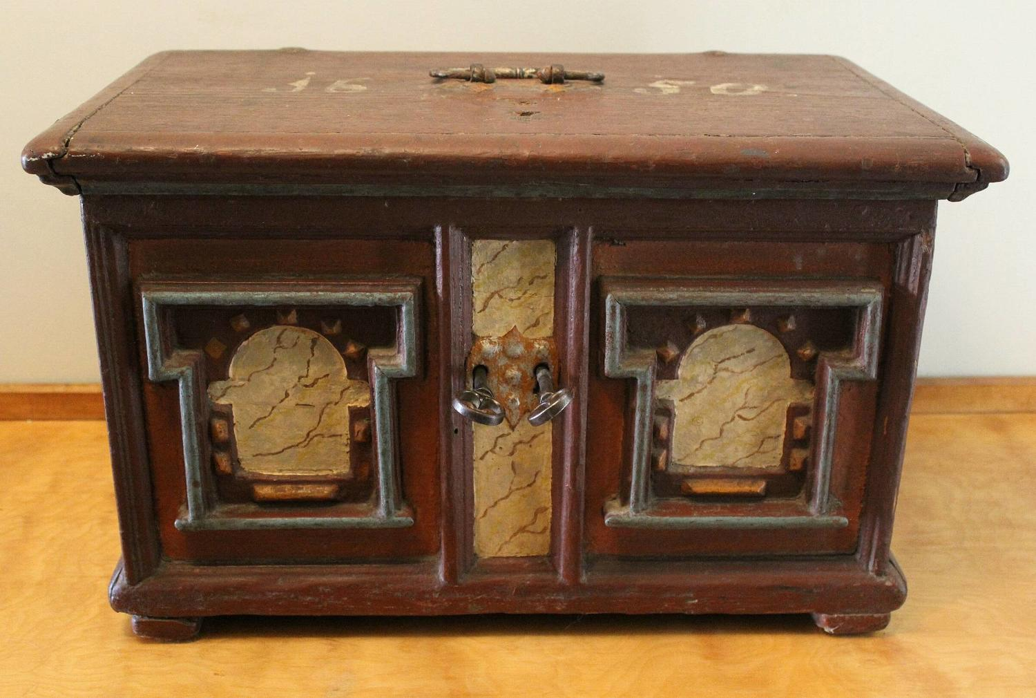 North European 17thC Painted Table Top Casket