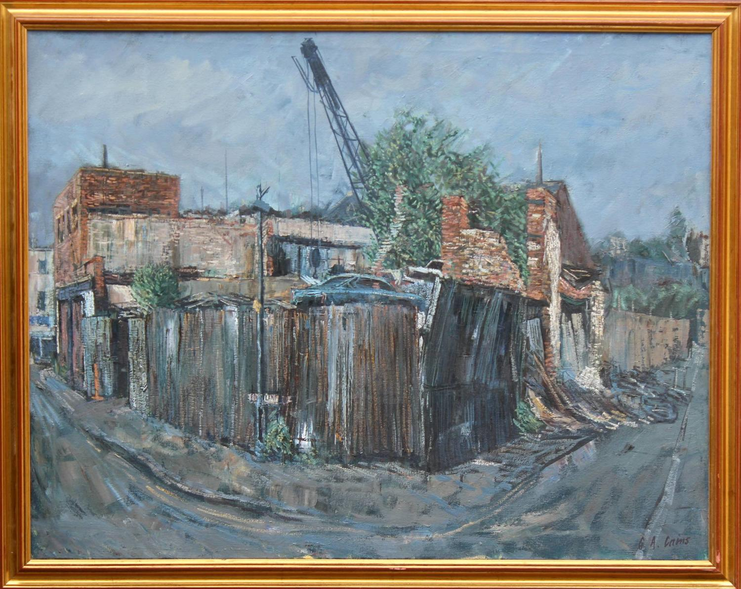 Gerald Albert Cains Oil on Canvas of a Scrapyard