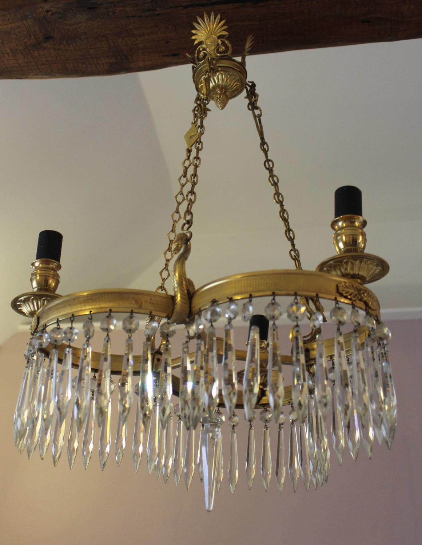 Empire Style Ormolu & Cut Glass Chandelier