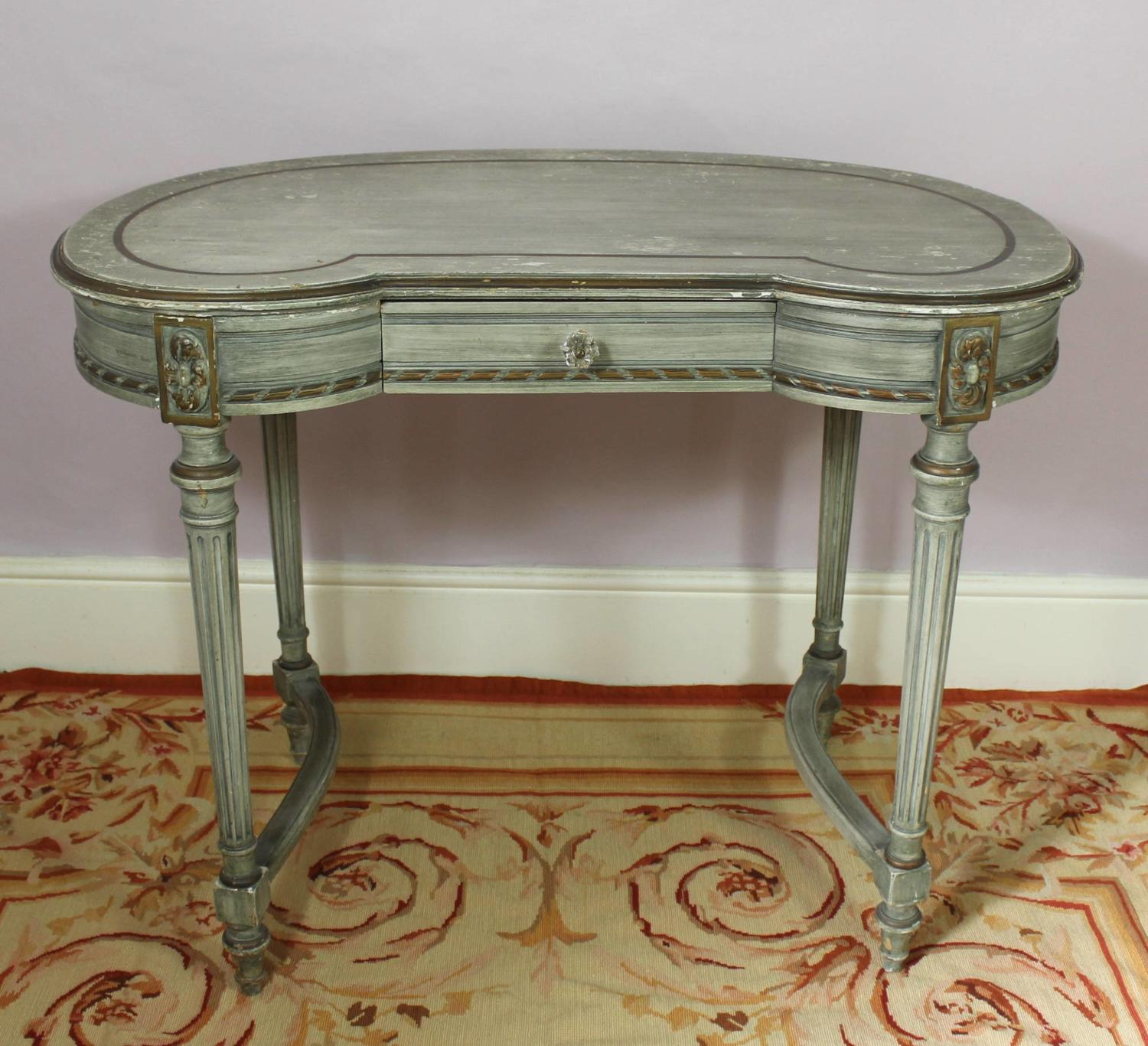 Kidney Shaped Green Painted Dressing Table