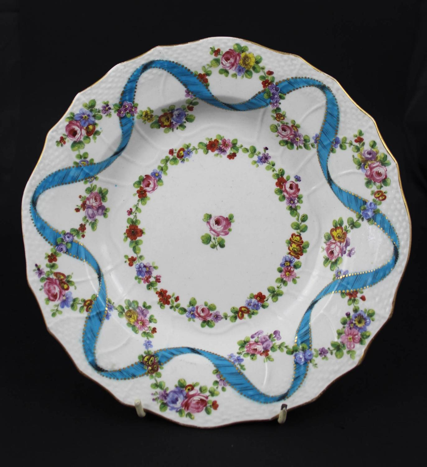 A 19th Century Staffordshire Porcelain Plate in Sevres Style