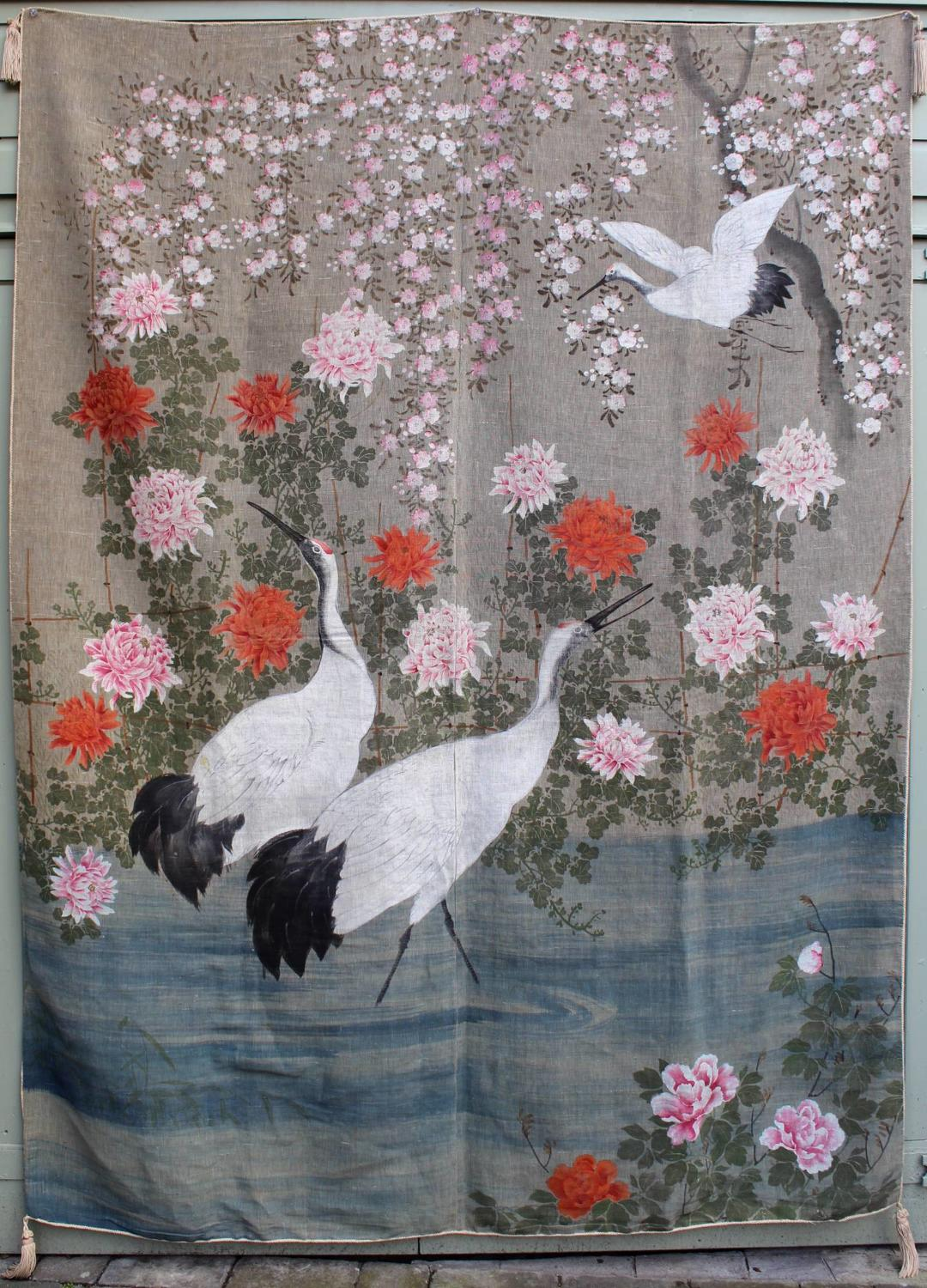 A Large Hand Painted Japanese Wall Hanging