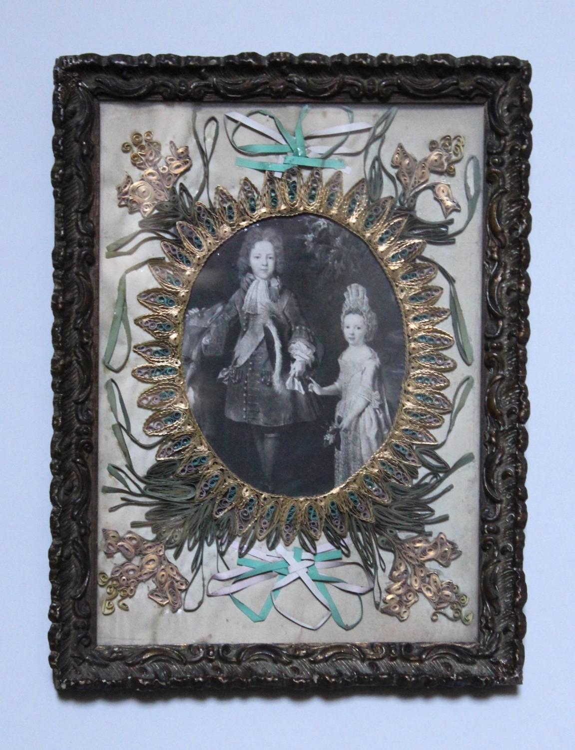 A 19th Century Paper Scrollwork Picture