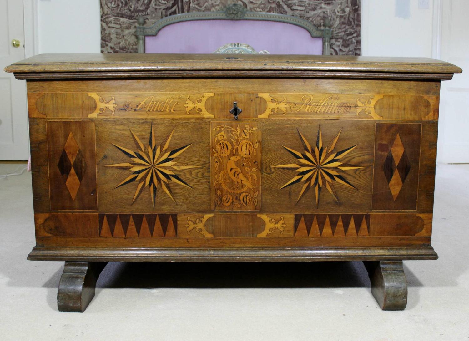 Antique Dutch Marquetry Marriage Chest