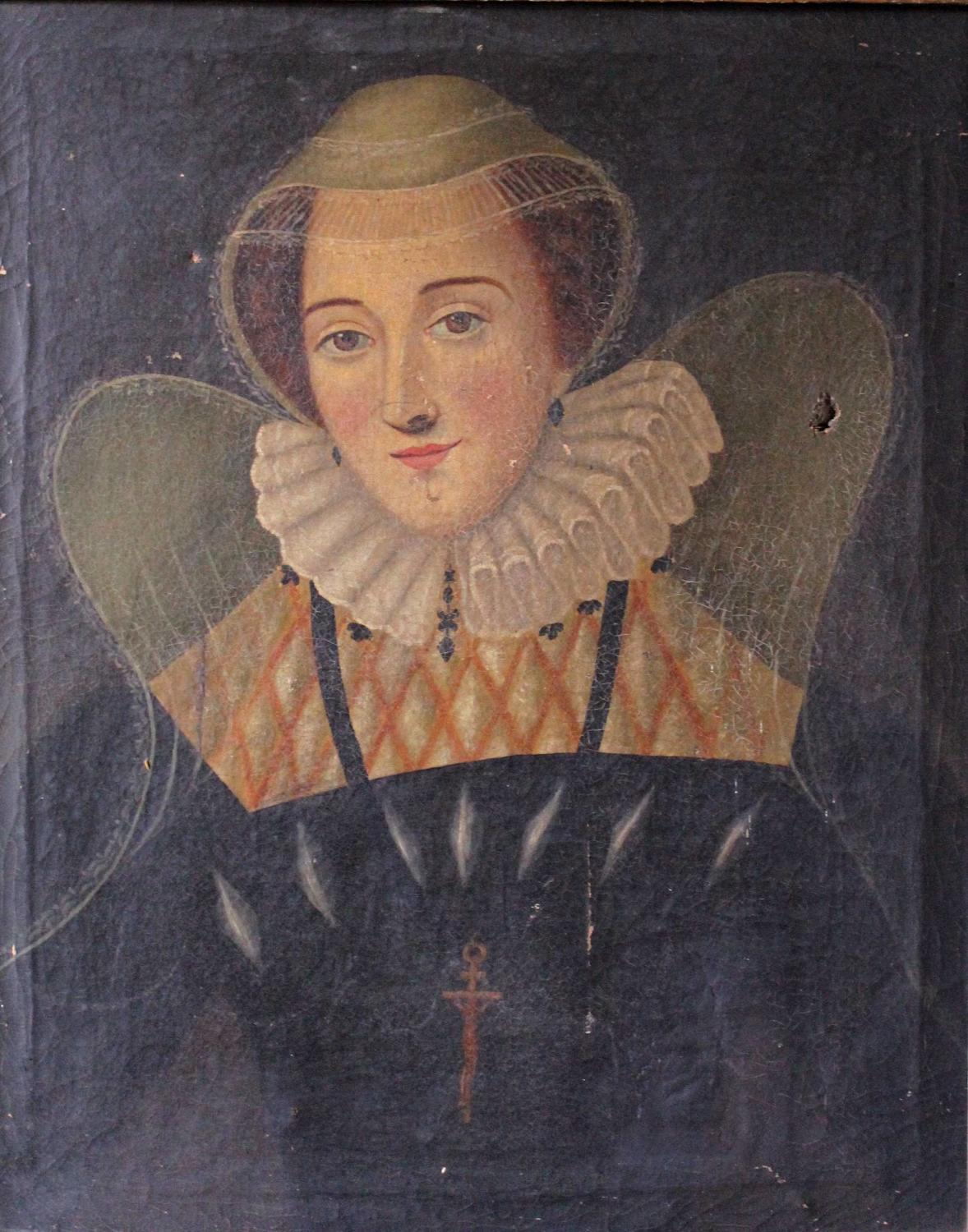 A Naive School Oil Portrait of Mary Queen of Scots
