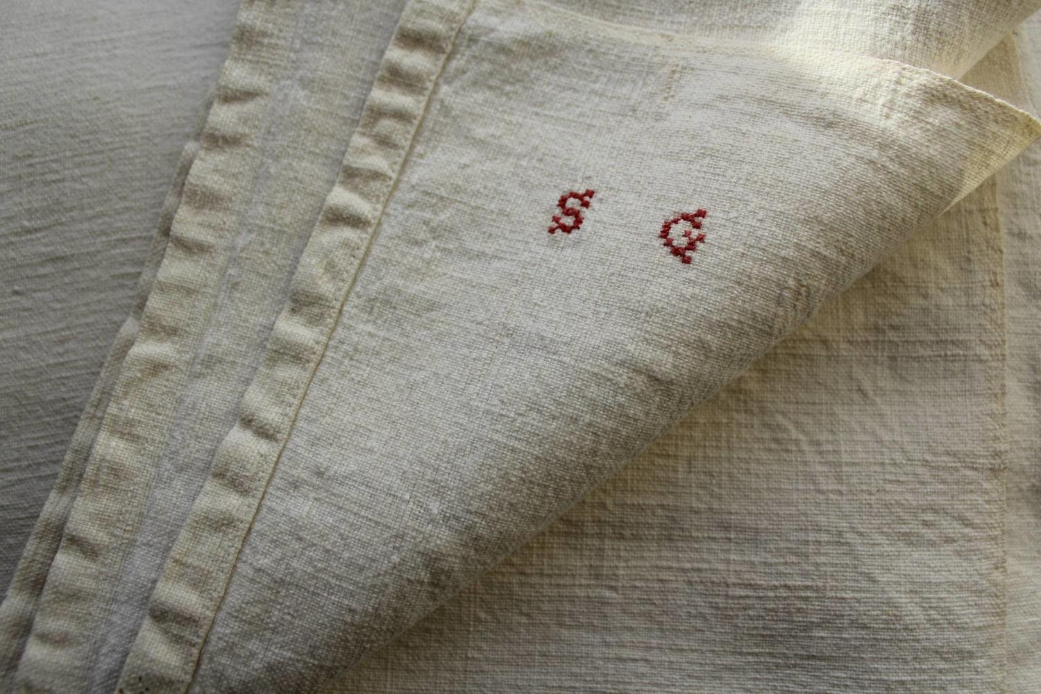 A Pair of French Metis Linen Sheets