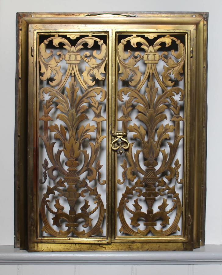 A Pair of 19th Century Pierced Brass Doors