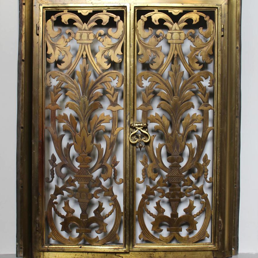 A Pair of 19th Century Pierced Brass Doors