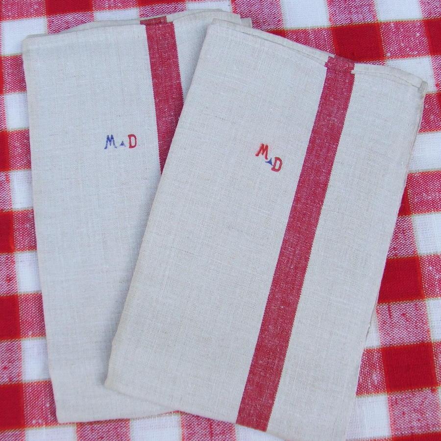 Vintage French Metis Linen Monogrammed Torchons \ Tea Towels