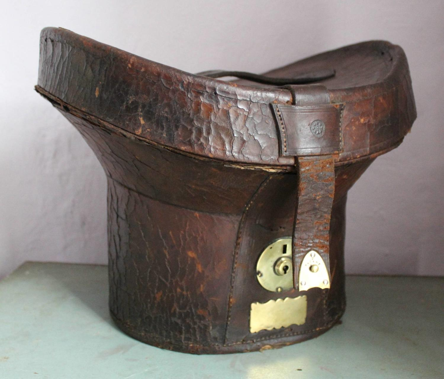 A 19th Century Leather Top Hat Travelling Case