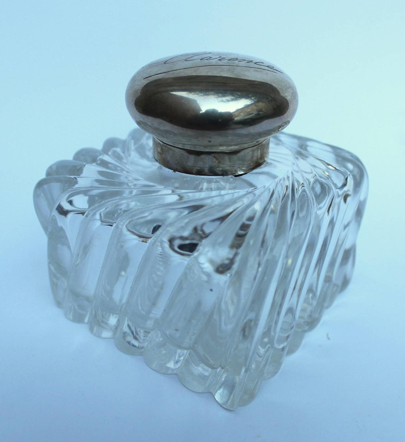 A Victorian Silver Mounted Cut Glass Inkwell