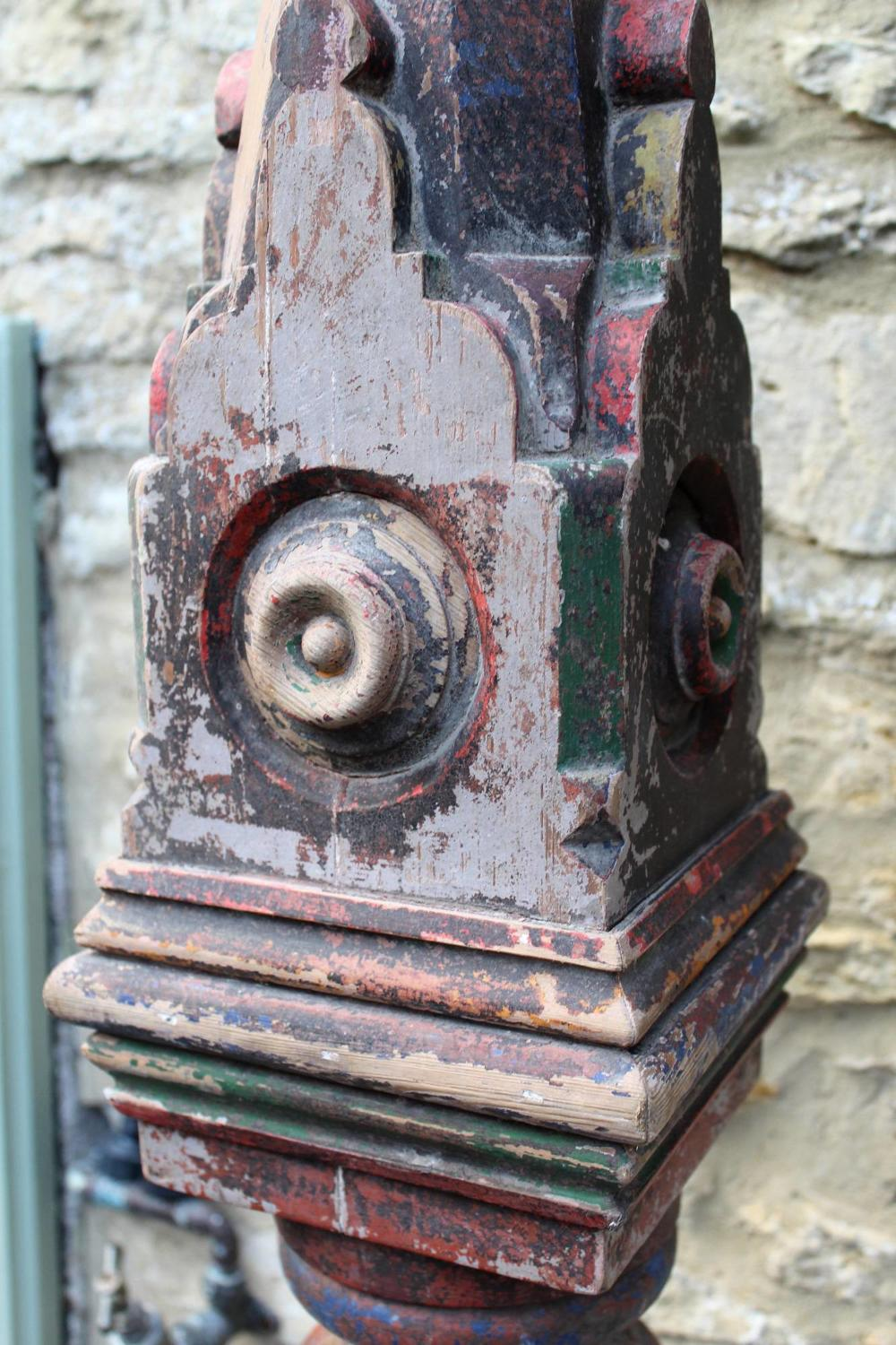 A Large Victorian Gothic Newel Post with Original Paint