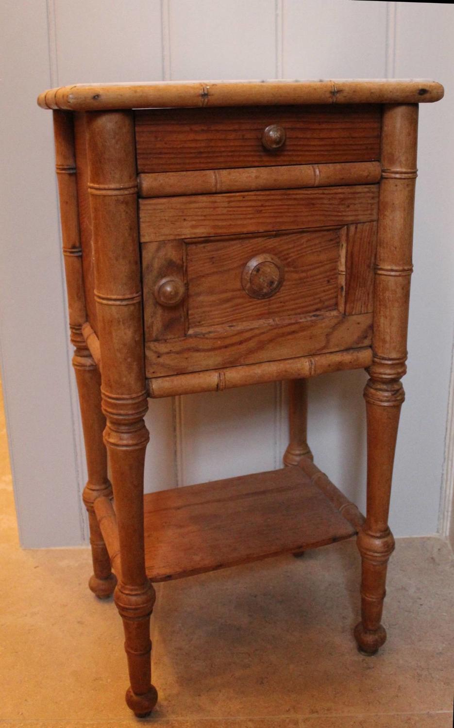 19th C French Faux Bamboo Bedside Cupboard \ Table