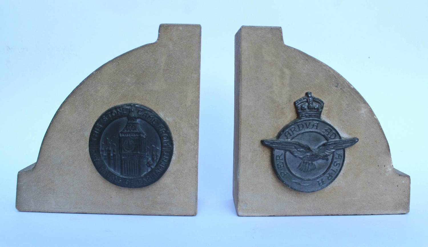A Pair of WWII Bookends made from the Stone of The Houses of Parliament