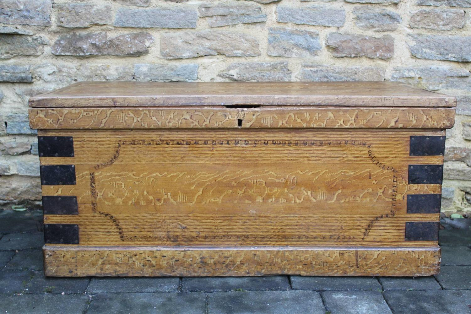 A Victorian Painted Pine Faux Grained Trunk