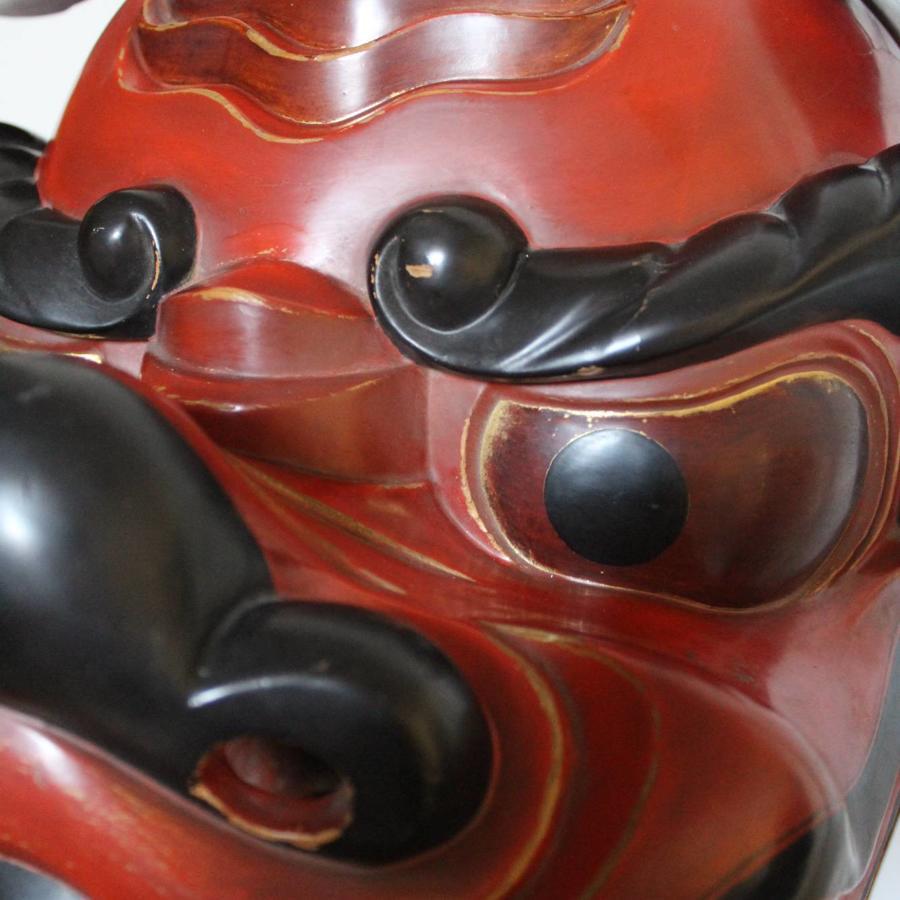 Superb Antique Japanese Lacquer Processional Shishi Mask