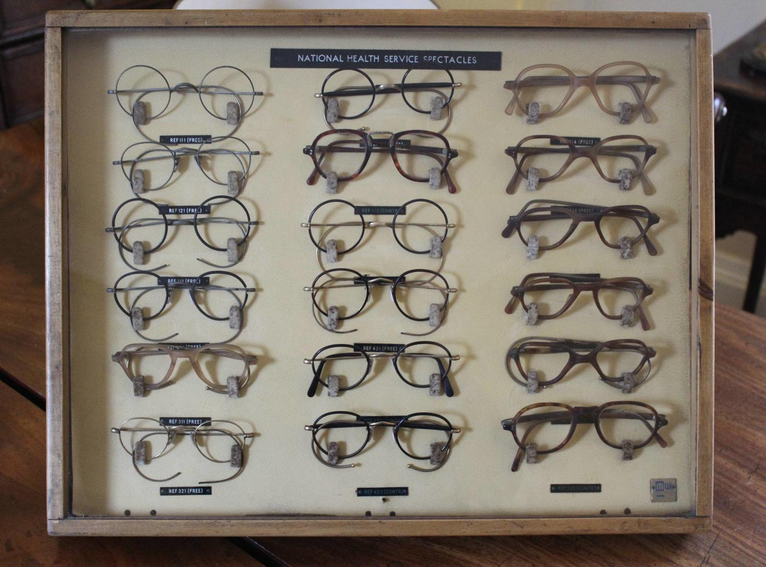 A 1940s Cased Display of National Health Spectacles