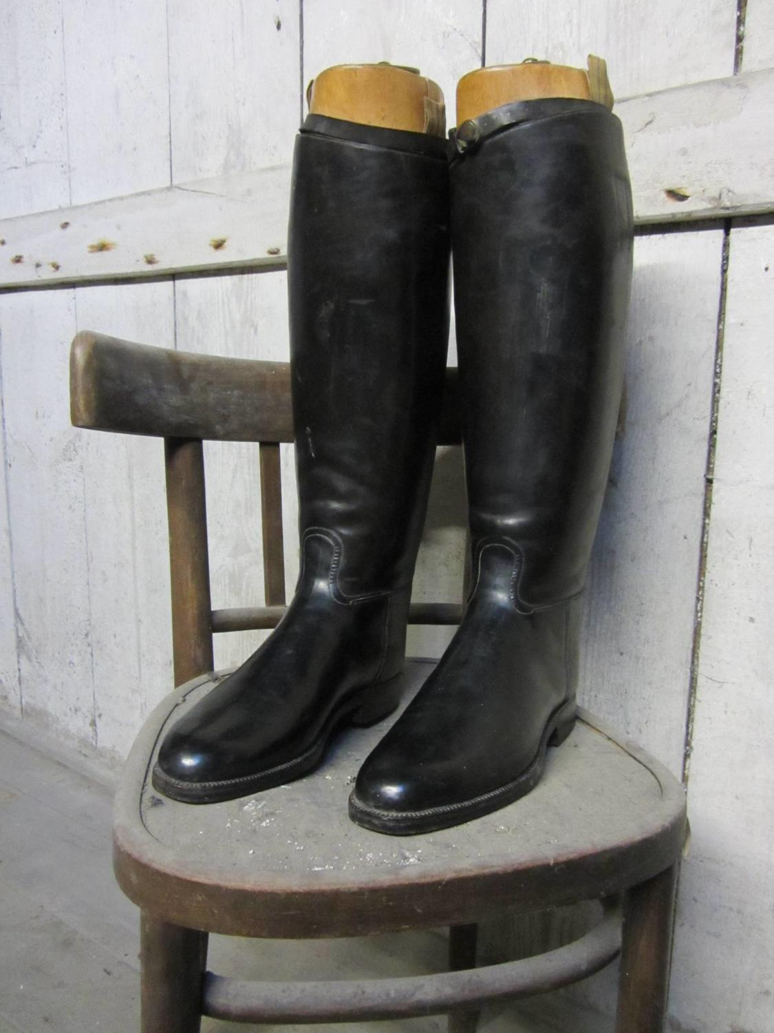 A Superb Pair of Military Officer`s Leather Riding Boots