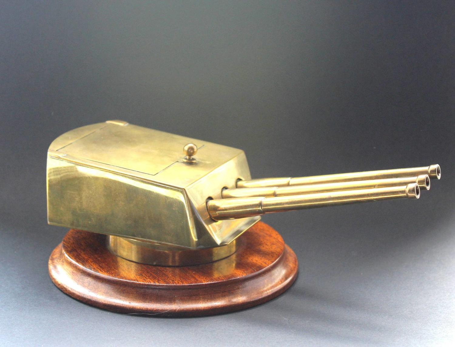 A Gentleman`s Brass Gun Turret Desk \ Cufflinks Box