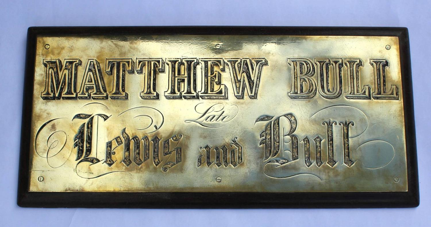 A Victorian Engraved Brass Sign