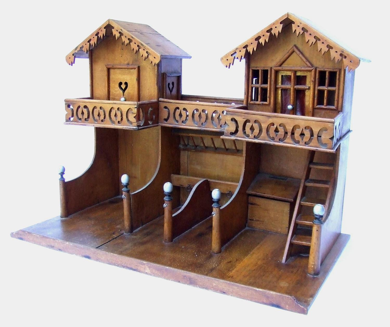 An Antique Swiss/German Wooden Model of a Stable