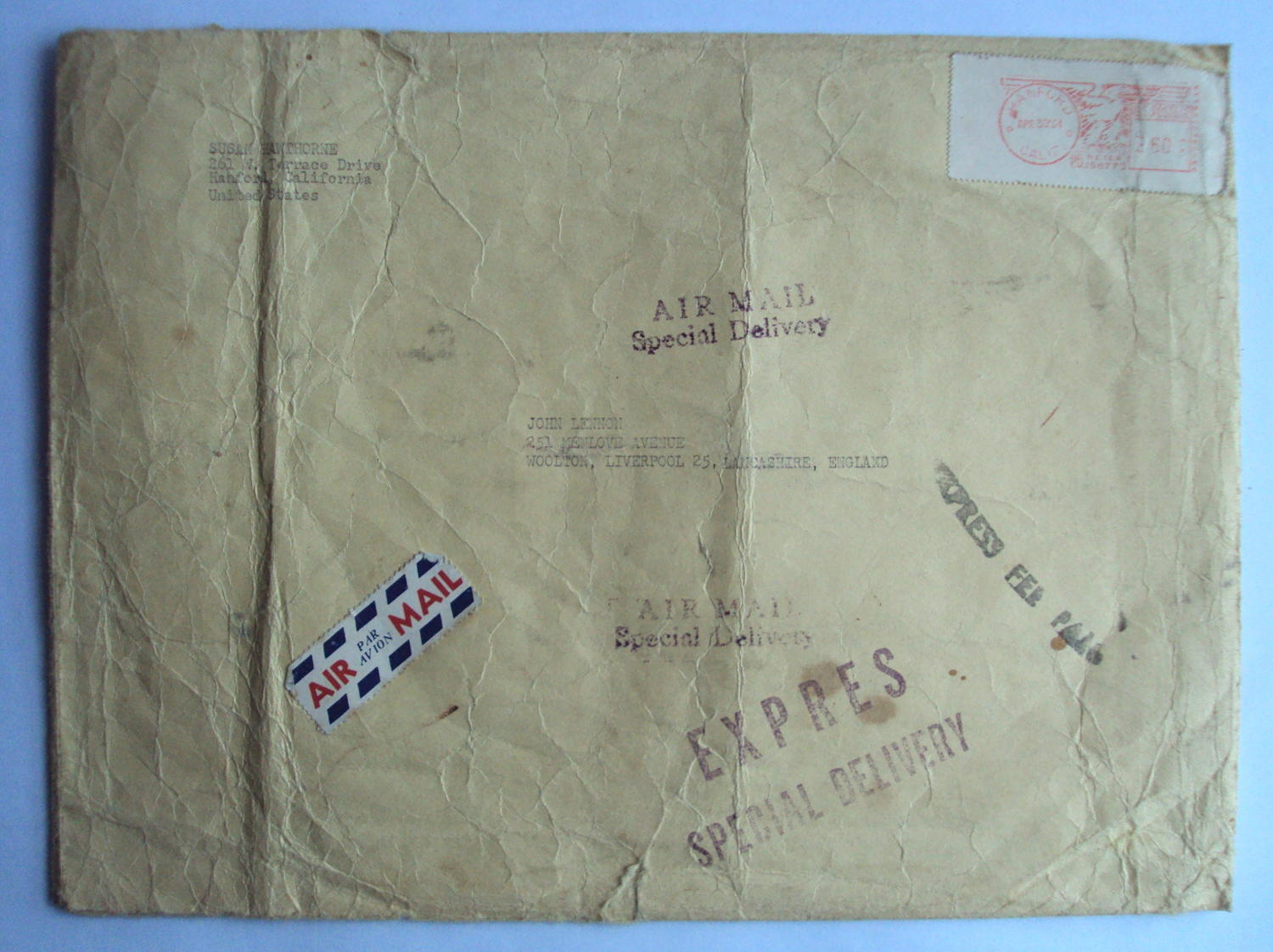 JOHN LENNON - The Beatles, An Envelope Addressed to John Lennon