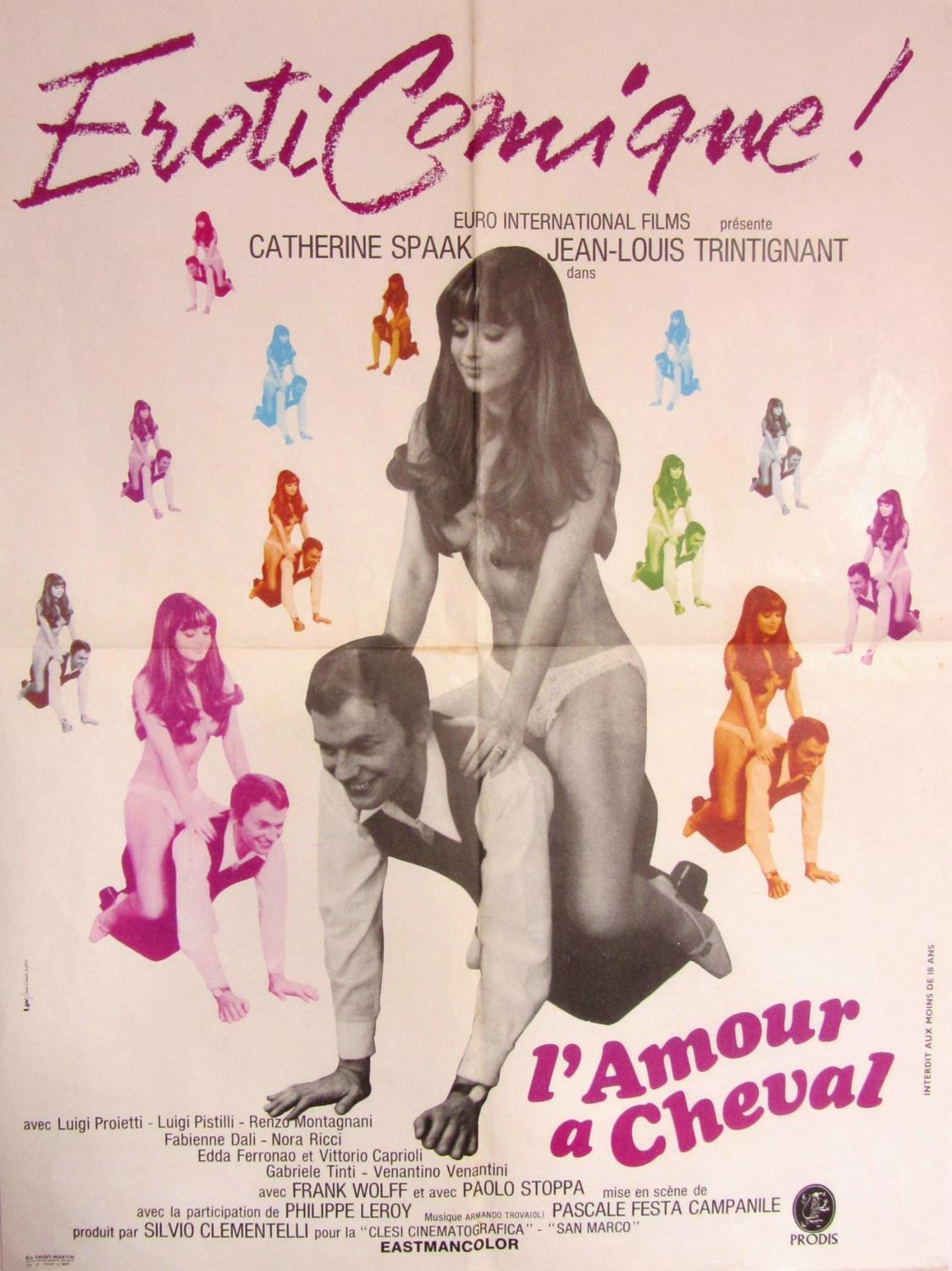 An Original French Film Poster `L`Amour a Cheval` 1969