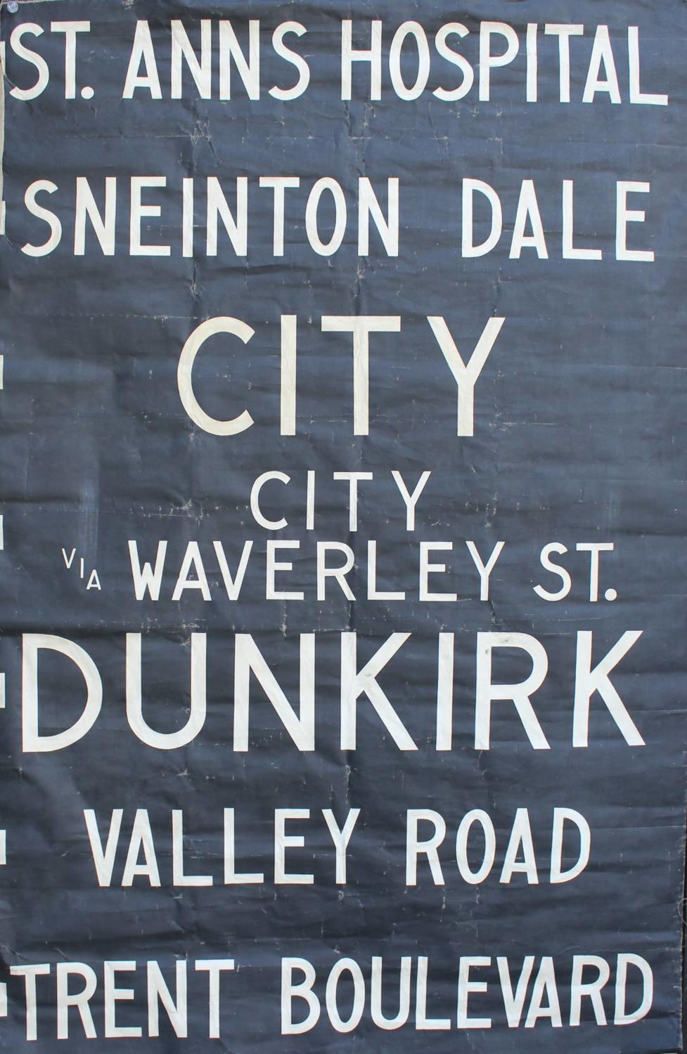An Original 1960s Bus Destination Linen Blind