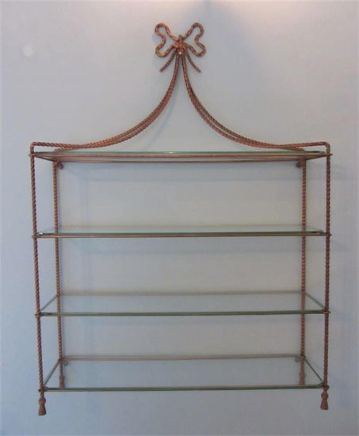 A Set of Gilt Metal Rope Twist Wall Shelves