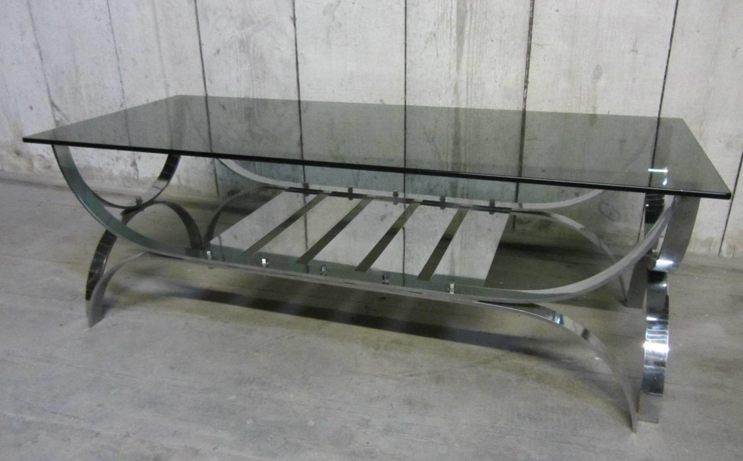 A French 1970s Chrome & Glass Coffee Table