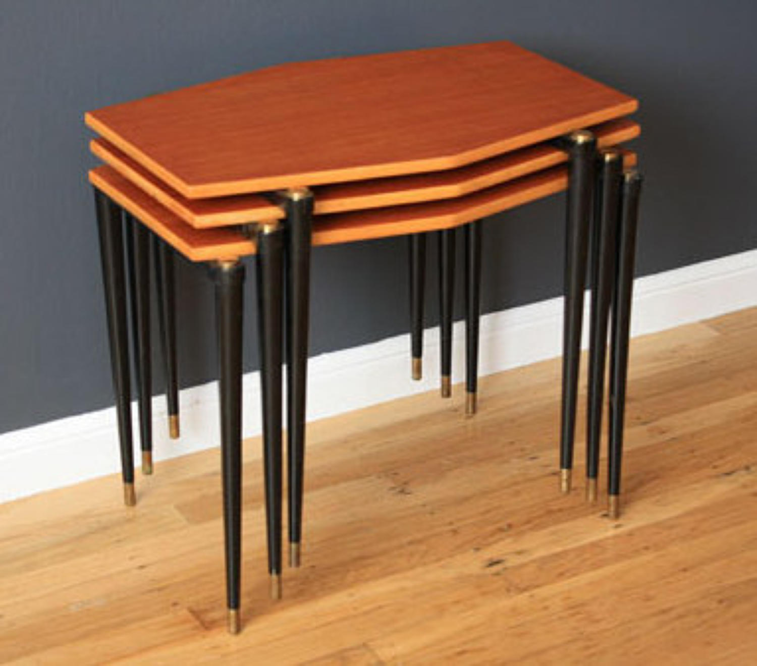 A Nest of Three Scandinavian Stacking Side Tables