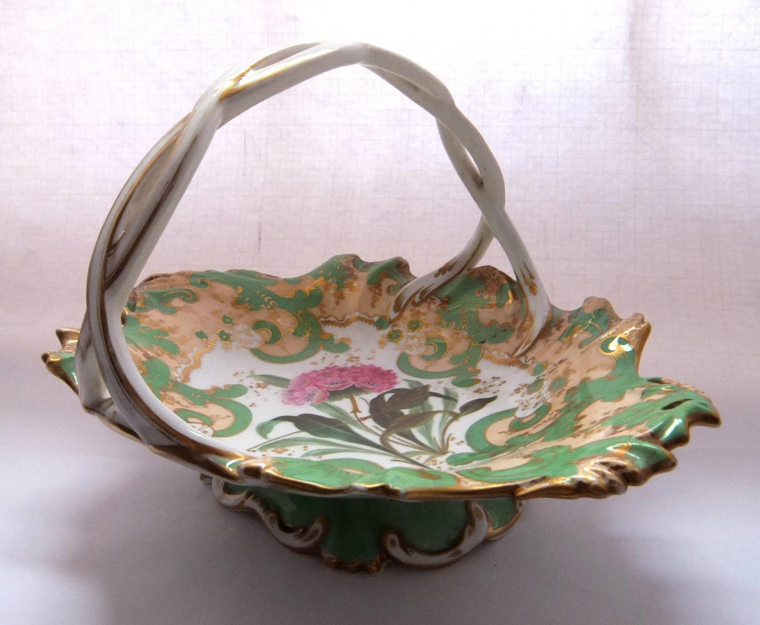 A Hand Painted Botanical Porcelain Basket circa 1830