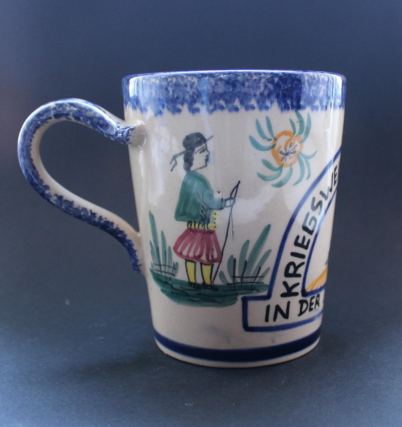 A Rare Quimper Faience Pottery German Occupation Mug 1940