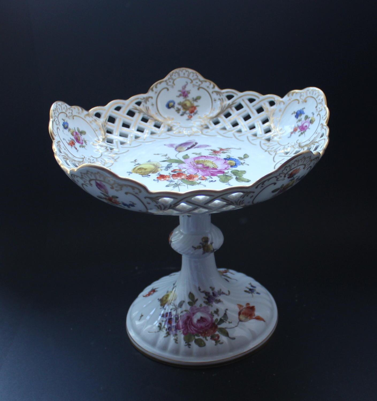 A Hand Painted Meissen Dresden Porcelain Comport