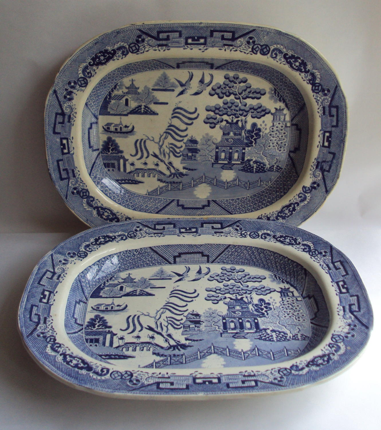 A Pair of Swansea Dillwyn & Co Blue & White Willow Pattern Meat Plates