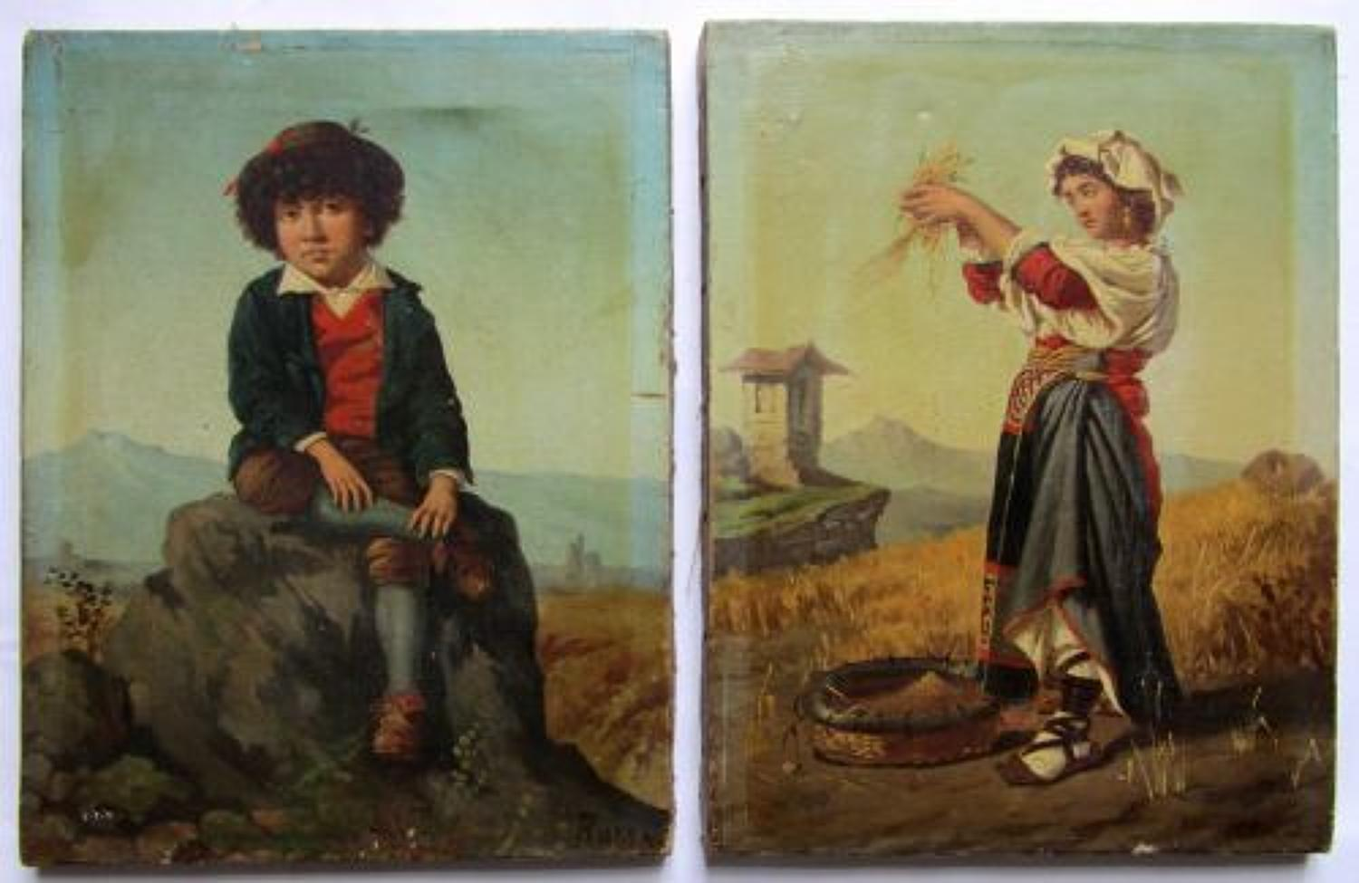 A Pair of Italian Grand Tour Oil Paintings of a Girl & Boy