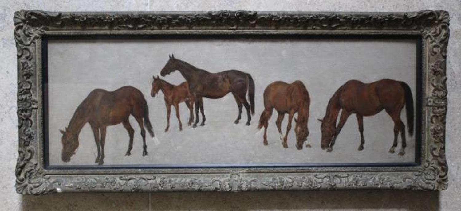A Charming Oil Study of Horses