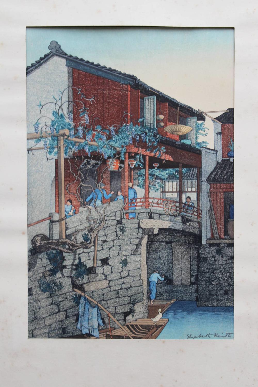 Elizabeth Keith, Wisteria Bridge, Colour Woodblock Print