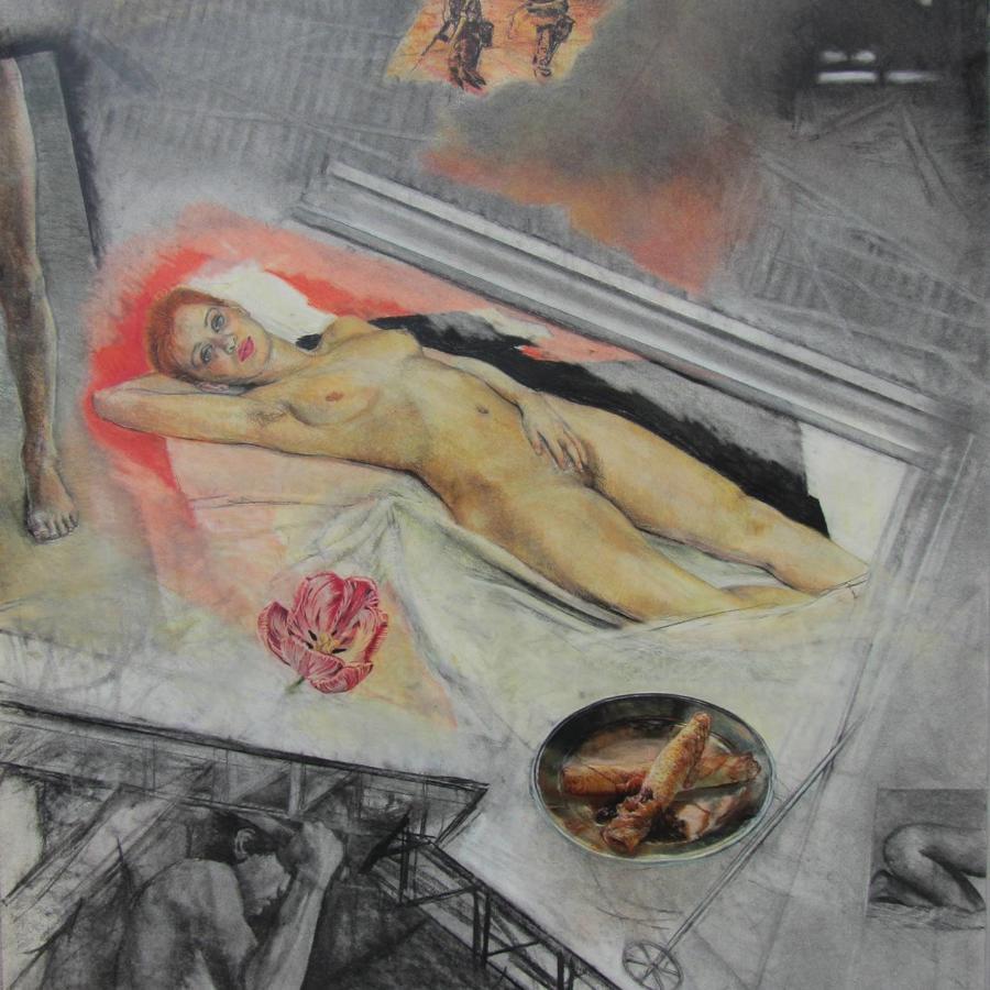Ron Bowen `I Dream of Bridget`, Large Charcoal & Pastel Drawing