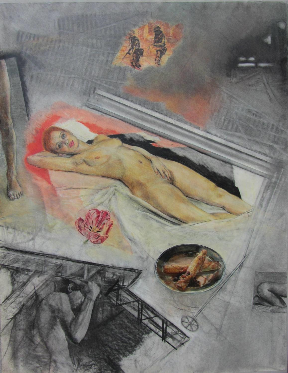 Ron Bowen `I Dream of Bridget`, Large Charcoal & Pastel Drawing