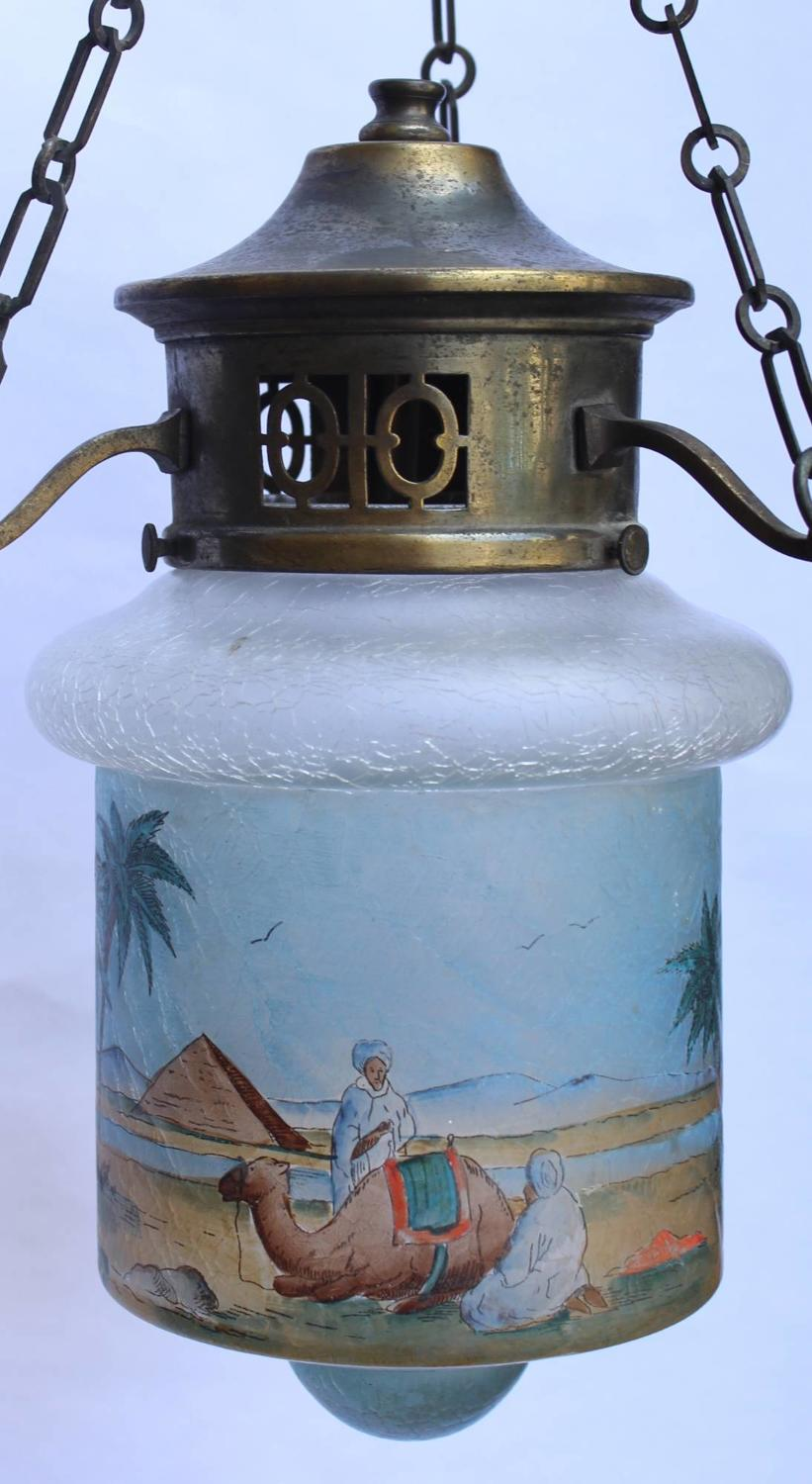 A Crackle Glass Hall Lantern with Hand Painted Egyptian Scene