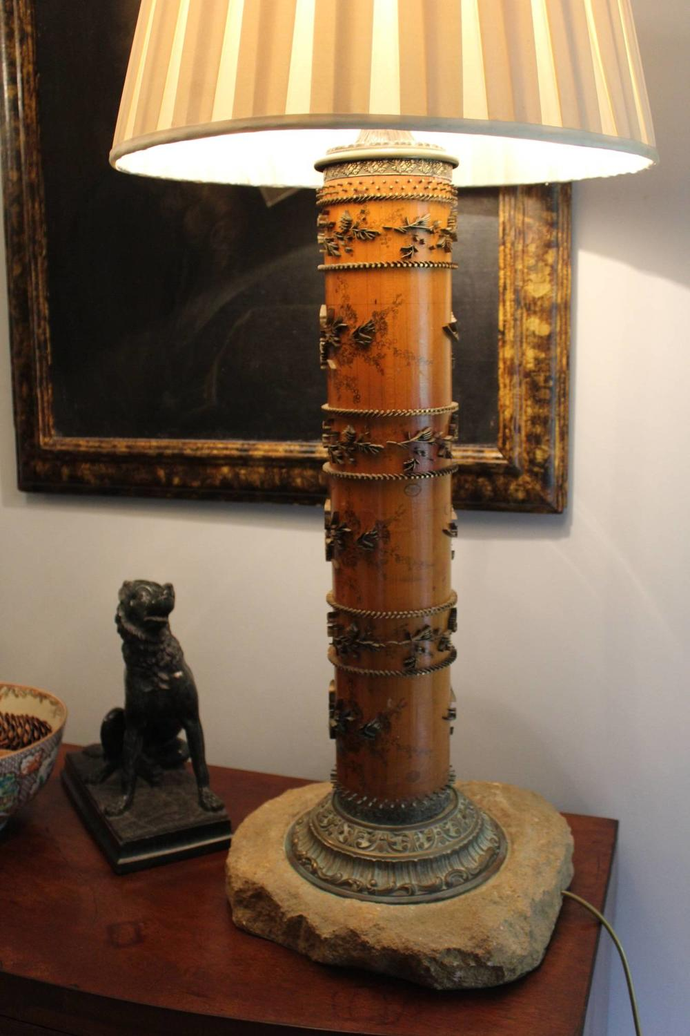 A Large Table Lamp formed from an Antique Wallpaper Printing Roller