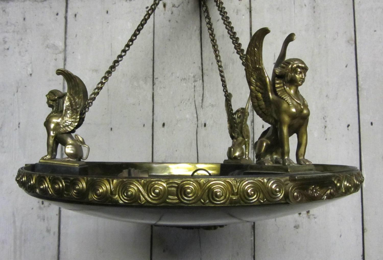 An Empire Style Bronze & Ormolu Plaffonier Ceiling Light