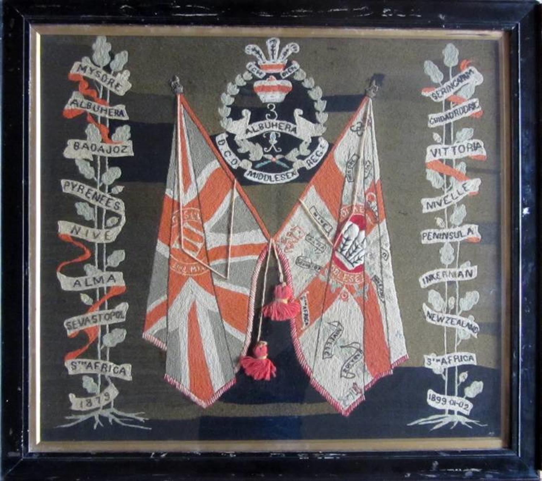 A Victorian Regimental Middlesex Regiment Woolwork Picture